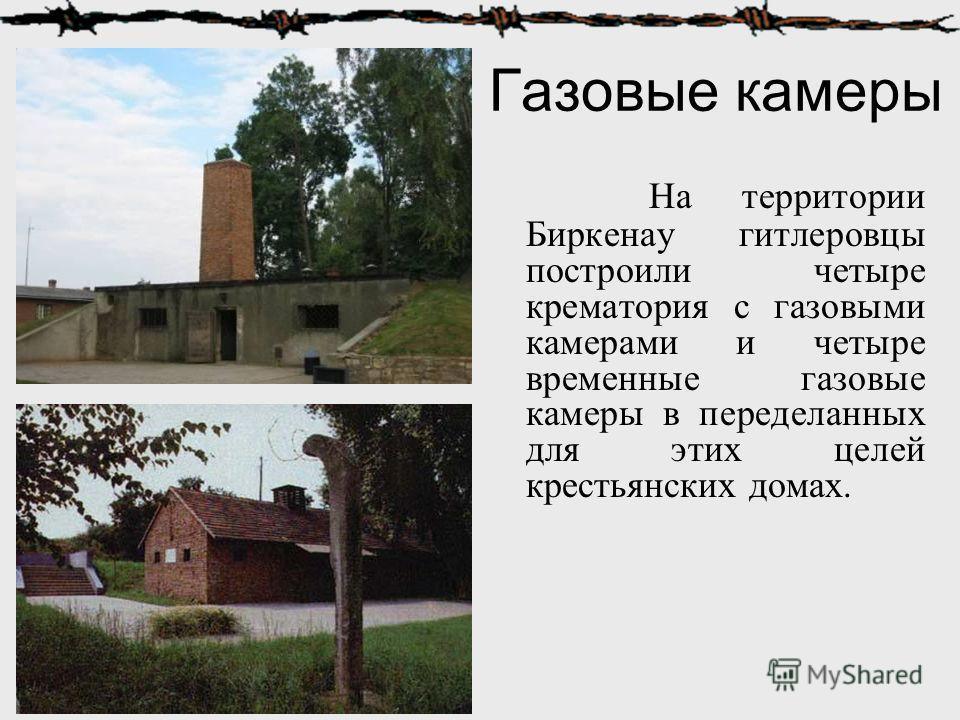 Газовые камеры На территории Биркенау гитлеровцы построили четыре крематория с газовыми камерами и четыре временные газовые камеры в переделанных для этих целей крестьянских домах.