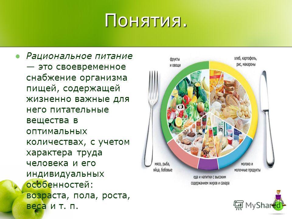 Понятия. Рациональное питание это своевременное снабжение организма пищей, содержащей жизненно важные для него питательные вещества в оптимальных количествах, с учетом характера труда человека и его индивидуальных особенностей: возраста, пола, роста,