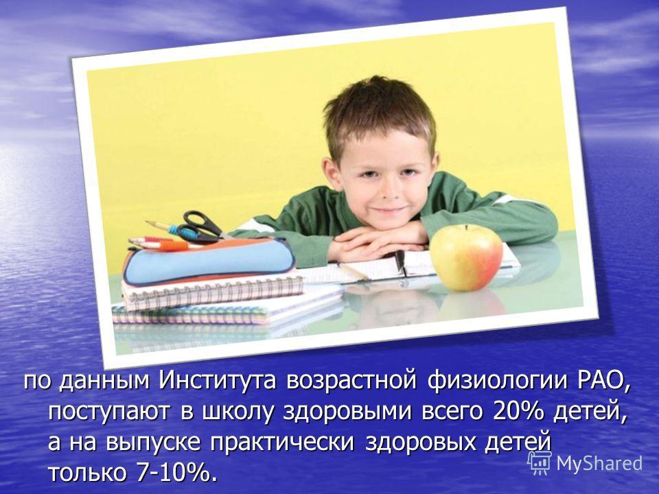 по данным Института возрастной физиологии РАО, поступают в школу здоровыми всего 20% детей, а на выпуске практически здоровых детей только 7-10%.