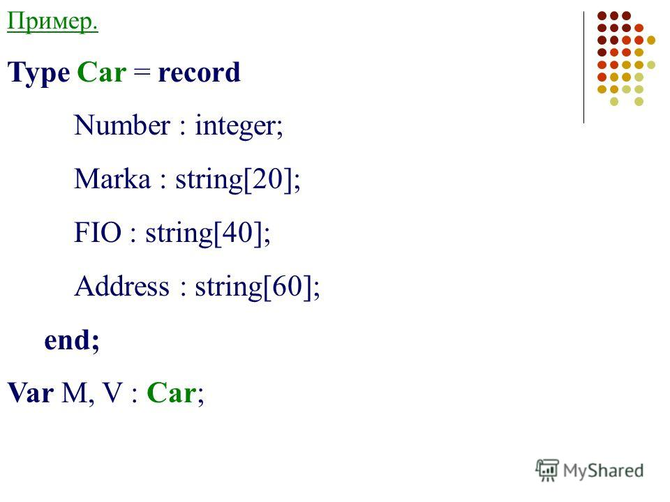 Пример. Type Car = record Number : integer; Marka : string[20]; FIO : string[40]; Address : string[60]; end; Var M, V : Car;