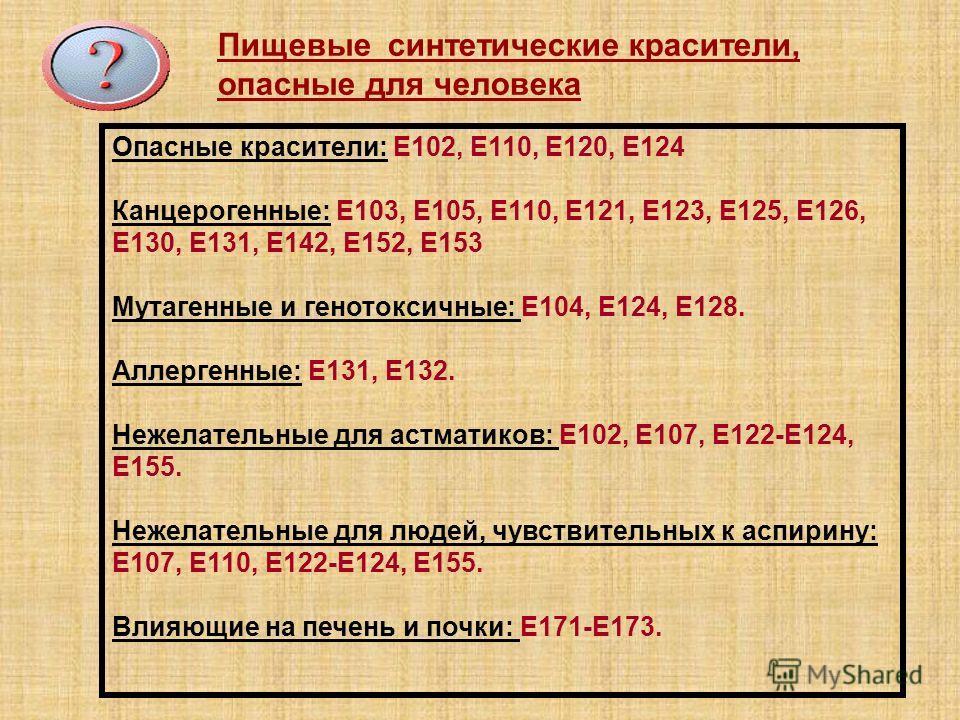 Опасные красители: Е102, Е110, Е120, Е124 Канцерогенные: Е103, Е105, Е110, Е121, Е123, Е125, Е126, Е130, Е131, Е142, Е152, Е153 Мутагенные и генотоксичные: Е104, Е124, Е128. Аллергенные: Е131, Е132. Нежелательные для астматиков: Е102, Е107, Е122-Е124