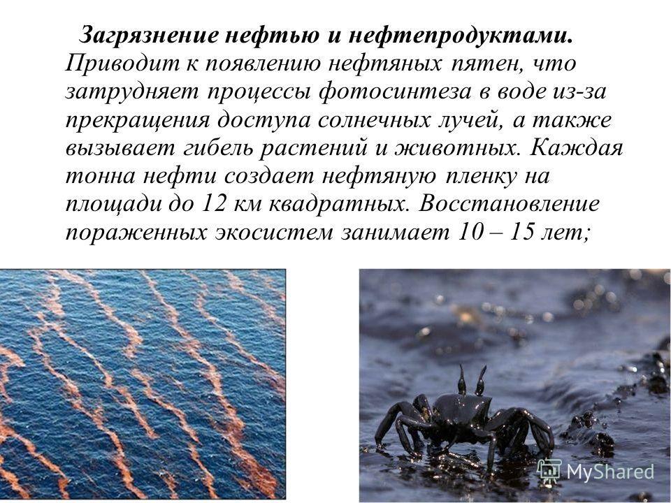 Загрязнение нефтью и нефтепродуктами. Приводит к появлению нефтяных пятен, что затрудняет процессы фотосинтеза в воде из-за прекращения доступа солнечных лучей, а также вызывает гибель растений и животных. Каждая тонна нефти создает нефтяную пленку н