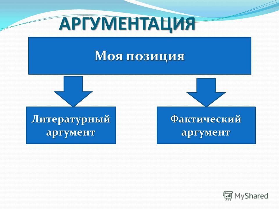 АРГУМЕНТАЦИЯ Моя позиция ЛитературныйаргументФактическийаргумент