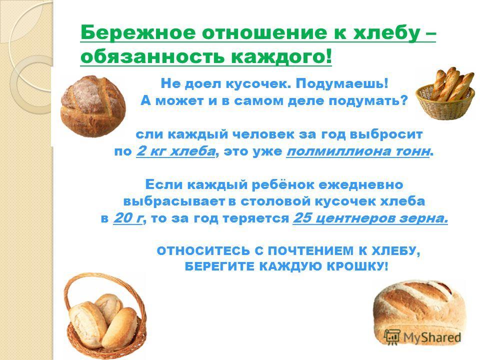 Бережное отношение к хлебу – обязанность каждого! Не доел кусочек. Подумаешь! А может и в самом деле подумать? Если каждый человек за год выбросит по 2 кг хлеба, это уже полмиллиона тонн. Если каждый ребёнок ежедневно выбрасывает в столовой кусочек х