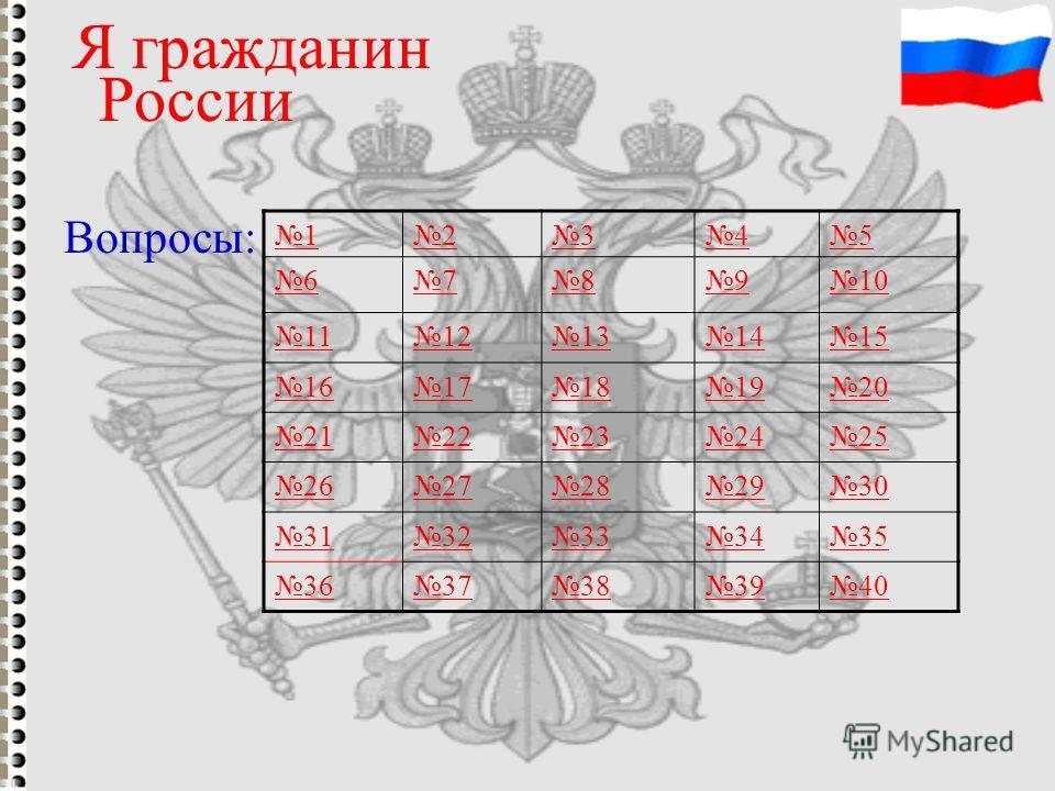 Я гражданин России 12345 678910 1112131415 1617181920 2122232425 2627282930 3132333435 3637383940 Вопросы:
