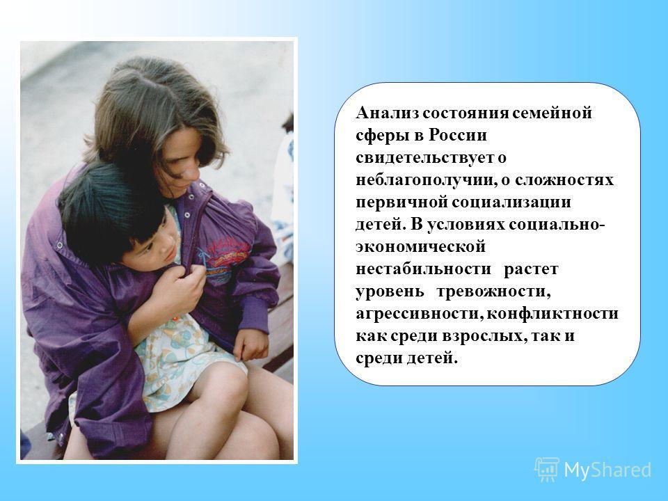 Анализ состояния семейной сферы в России свидетельствует о неблагополучии, о сложностях первичной социализации детей. В условиях социально- экономической нестабильности растет уровень тревожности, агрессивности, конфликтности как среди взрослых, так