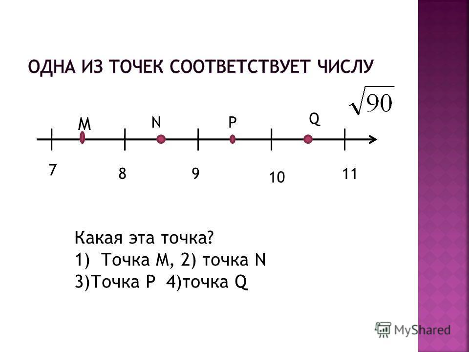 7 89 10 11 M NP Q Какая эта точка? 1)Точка M, 2) точка N 3)Точка P 4)точка Q