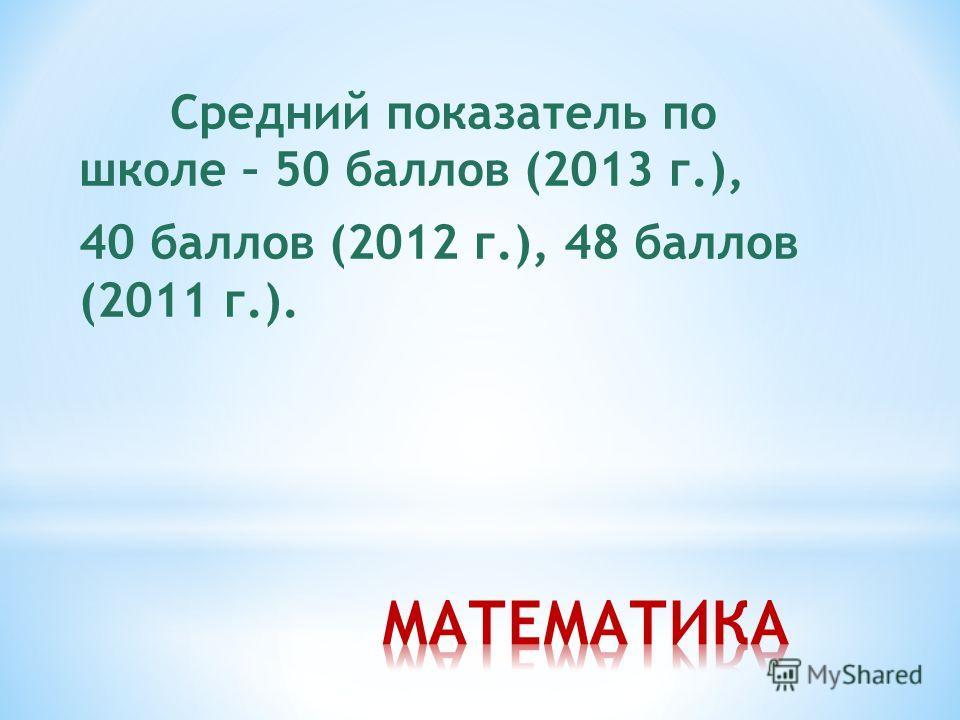 Средний показатель по школе – 50 баллов (2013 г.), 40 баллов (2012 г.), 48 баллов (2011 г.).