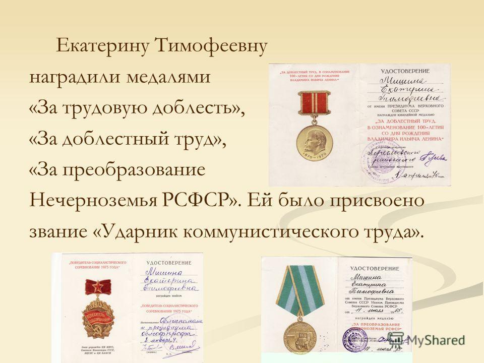 Екатерину Тимофеевну наградили медалями «За трудовую доблесть», «За доблестный труд», «За преобразование Нечерноземья РСФСР». Ей было присвоено звание «Ударник коммунистического труда».