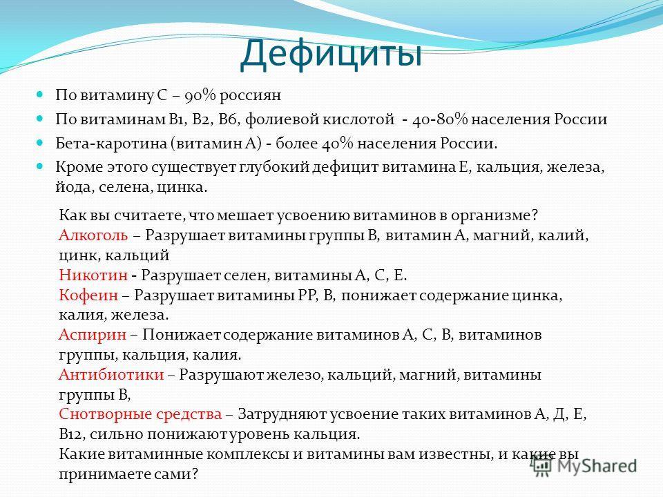 Дефициты По витамину С – 90% россиян По витаминам В1, В2, В6, фолиевой кислотой - 40-80% населения России Бета-каротина (витамин А) - более 40% населения России. Кроме этого существует глубокий дефицит витамина Е, кальция, железа, йода, селена, цинка