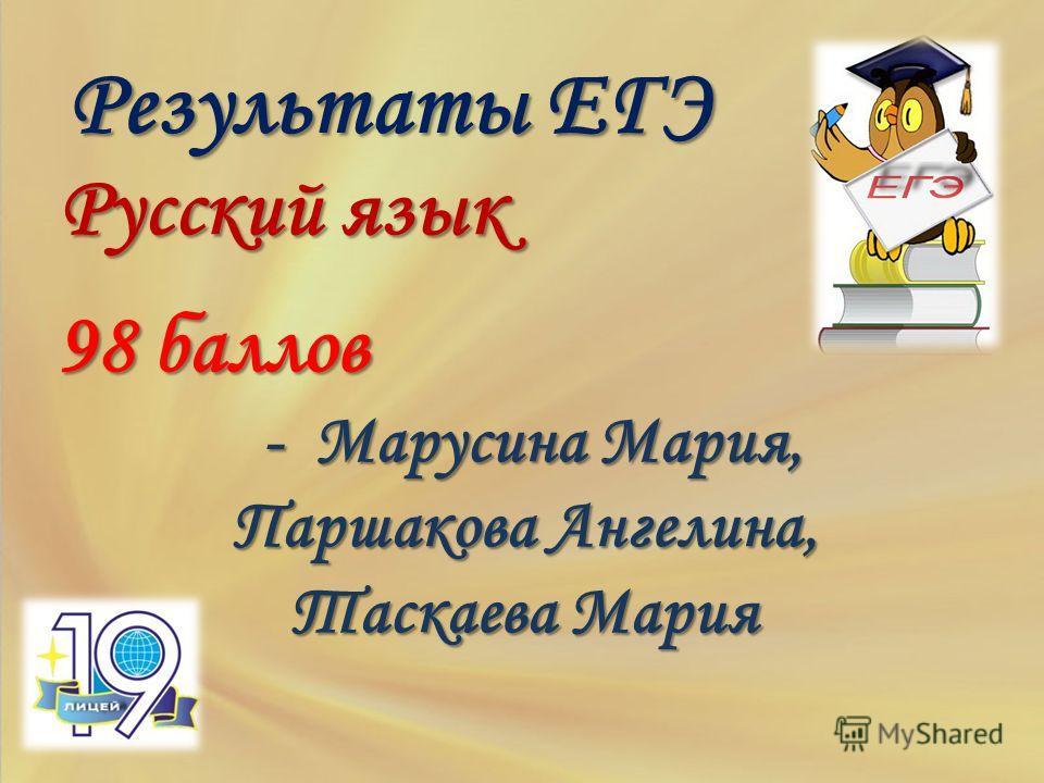 Результаты ЕГЭ Русский язык 98 баллов 98 баллов - Марусина Мария, - Марусина Мария, Паршакова Ангелина, Таскаева Мария