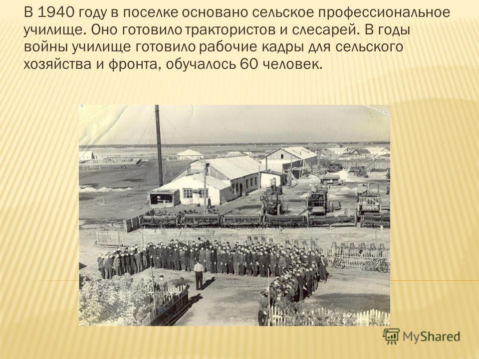 В 1940 году в поселке основано сельское профессиональное училище. Оно готовило трактористов и слесарей. В годы войны училище готовило рабочие кадры для сельского хозяйства и фронта, обучалось 60 человек.