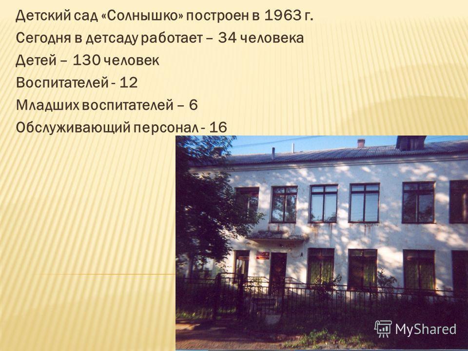 Детский сад «Солнышко» построен в 1963 г. Сегодня в детсаду работает – 34 человека Детей – 130 человек Воспитателей - 12 Младших воспитателей – 6 Обслуживающий персонал - 16