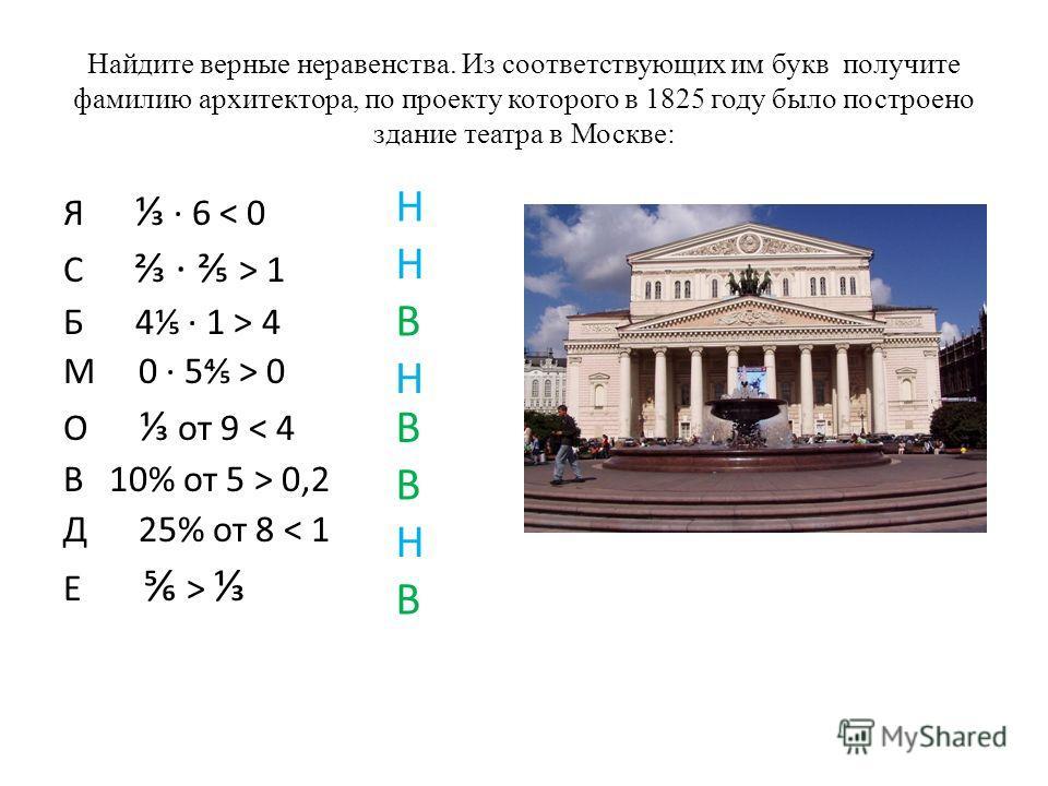 Найдите верные неравенства. Из соответствующих им букв получите фамилию архитектора, по проекту которого в 1825 году было построено здание театра в Москве: Я 6 < 0 С > 1 Б 4 1 > 4 М 0 5 > 0 О от 9 < 4 В 10% от 5 > 0,2 Д 25% от 8 < 1 Е > Н Н В Н В В Н