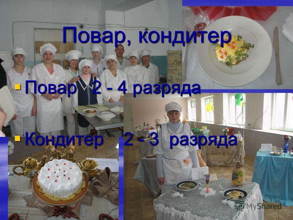 Повар, кондитер Повар 2 - 4 разряда Повар 2 - 4 разряда Кондитер 2 - 3 разряда Кондитер 2 - 3 разряда