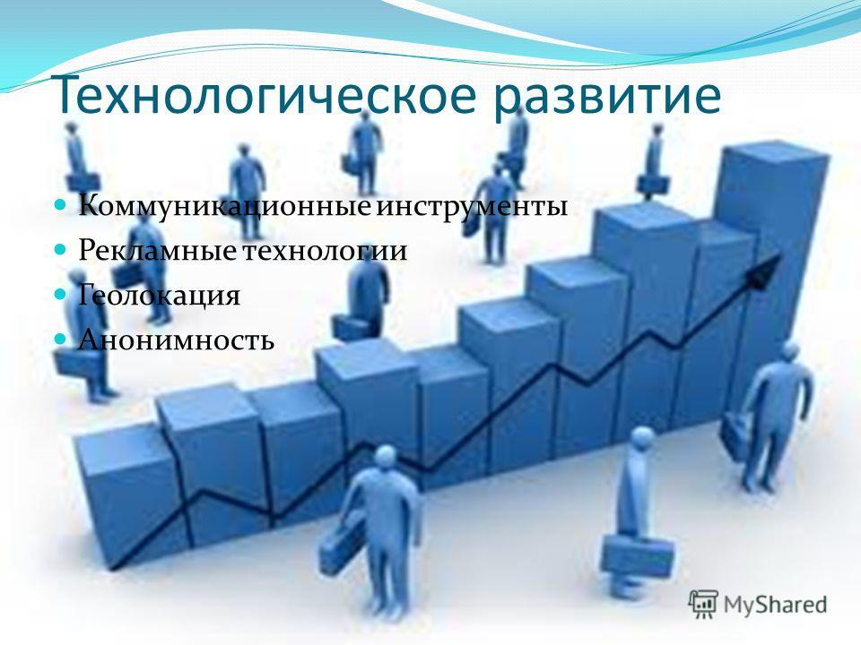 Технологическое развитие Коммуникационные инструменты Рекламные технологии Геолокация Анонимность