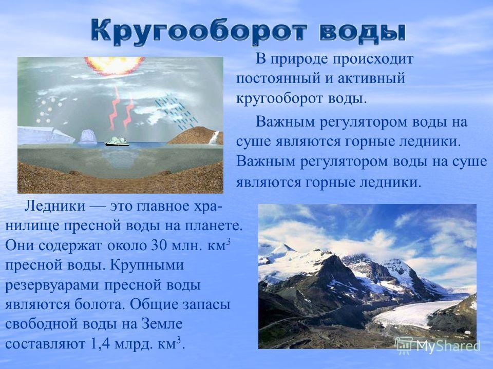 В природе происходит постоянный и активный кругооборот воды. Важным регулятором воды на суше являются горные ледники. Ледники это главное хра- нилище пресной воды на планете. Они содержат около 30 млн. км 3 пресной воды. Крупными резервуарами пресной