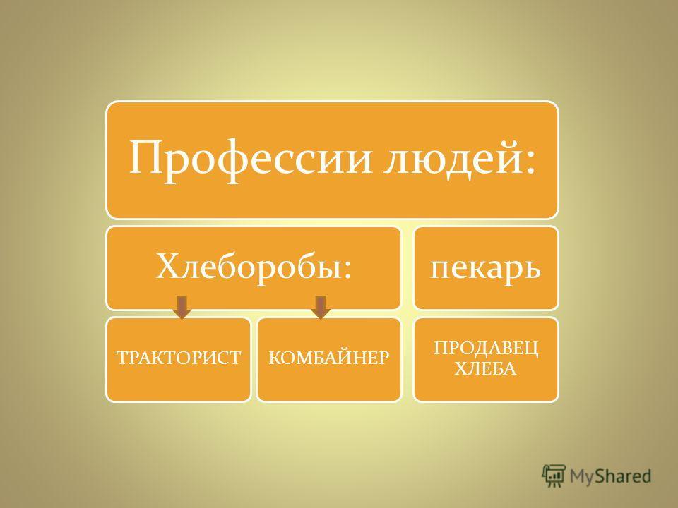 Профессии людей: Хлеборобы: ТРАКТОРИСТКОМБАЙНЕР пекарь ПРОДАВЕЦ ХЛЕБА