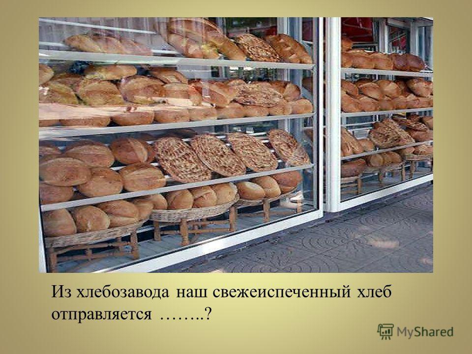 Из хлебозавода наш свежеиспеченный хлеб отправляется ……..?