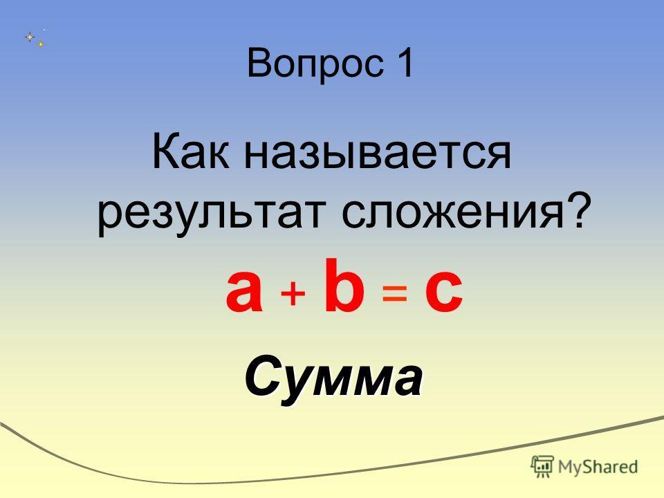 Вопрос 1 Как называется результат сложения? a + b = cСумма