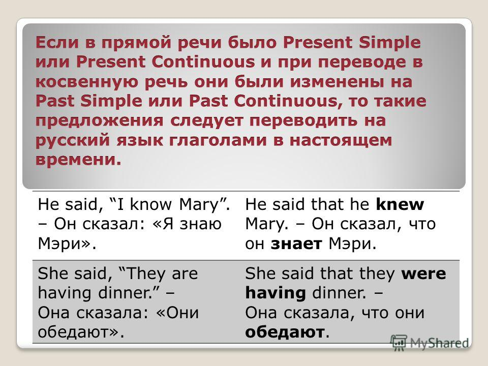 He said, I know Mary. – Он сказал: «Я знаю Мэри». He said that he knew Mary. – Он сказал, что он знает Мэри. She said, They are having dinner. – Она сказала: «Они обедают». She said that they were having dinner. – Она сказала, что они обедают.