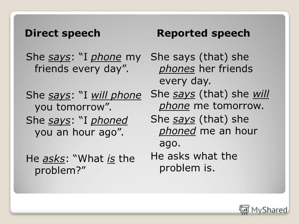 Direct speechReported speech She says: I phone my friends every day. She says: I will phone you tomorrow. She says: I phoned you an hour ago. He asks: What is the problem? She says (that) she phones her friends every day. She says (that) she will pho