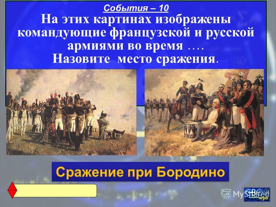 События – 10 На этих картинах изображены командующие французской и русской армиями во время …. Назовите место сражения. Сражение при Бородино