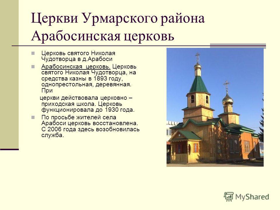 Церкви Урмарского района Арабосинская церковь Церковь святого Николая Чудотворца в д.Арабоси Арабосинская церковь. Церковь святого Николая Чудотворца, на средства казны в 1893 году, однопрестольная, деревянная. При церкви действовала церковно – прихо