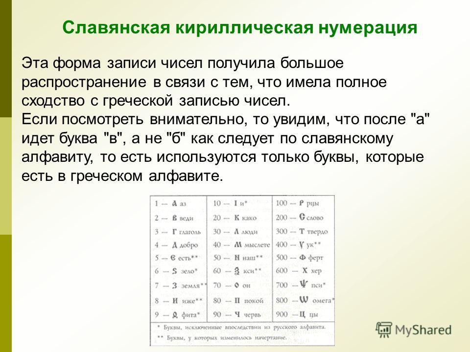 Эта форма записи чисел получила большое распространение в связи с тем, что имела полное сходство с греческой записью чисел. Если посмотреть внимательно, то увидим, что после