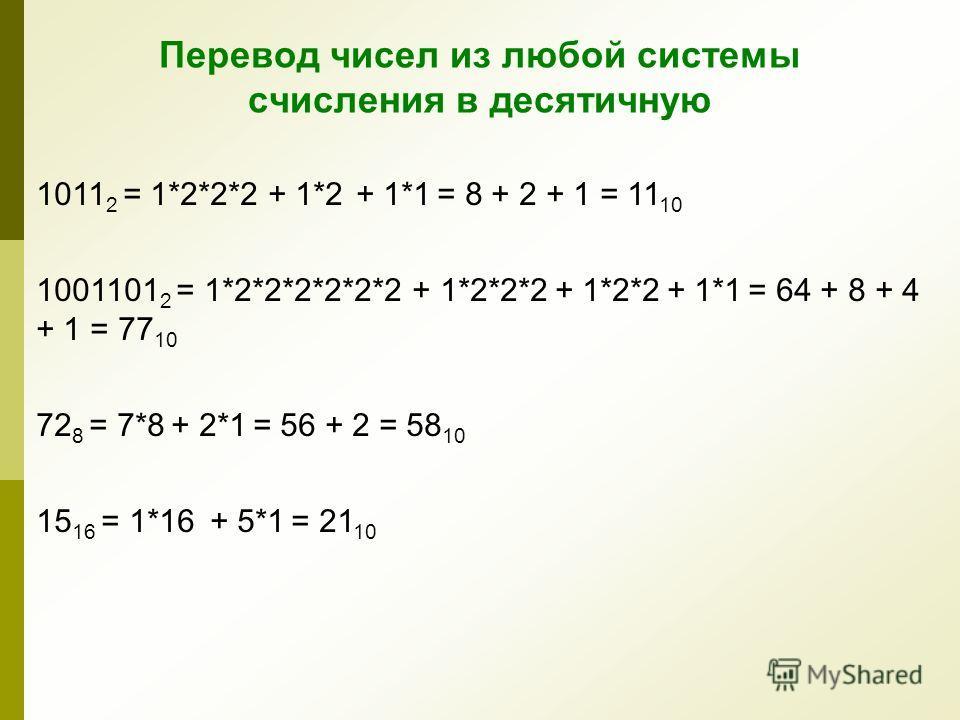Схема горнера для перевода чисел