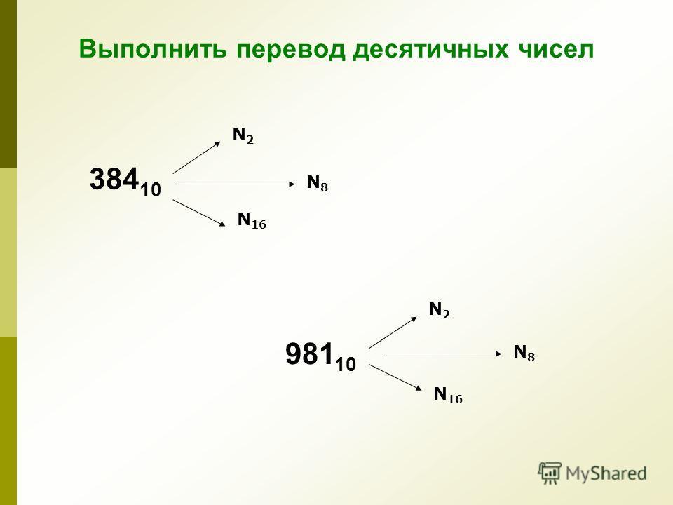 Выполнить перевод десятичных чисел N2N2 N 16 384 10 N2N2 N 16 981 10 N8N8 N8N8
