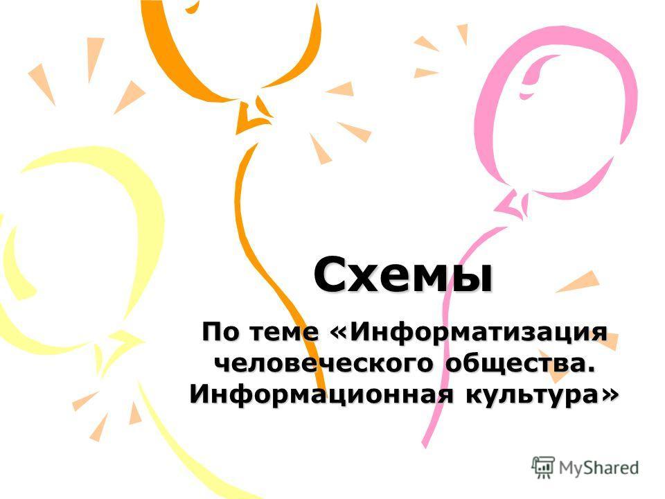 Схемы По теме «Информатизация человеческого общества. Информационная культура»