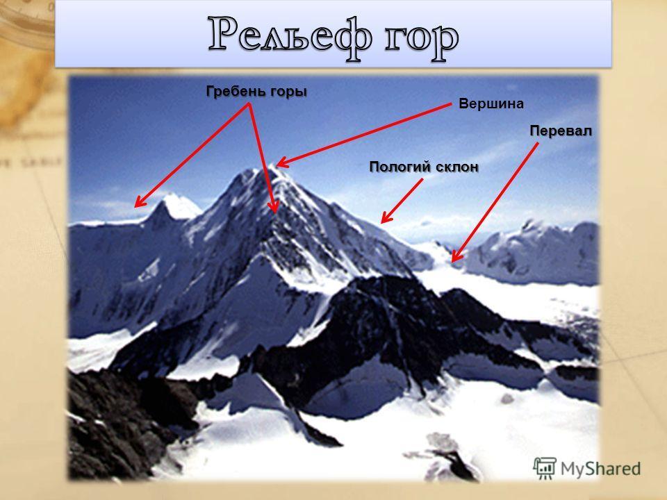 Гребень горы Пологий склон Вершина Перевал
