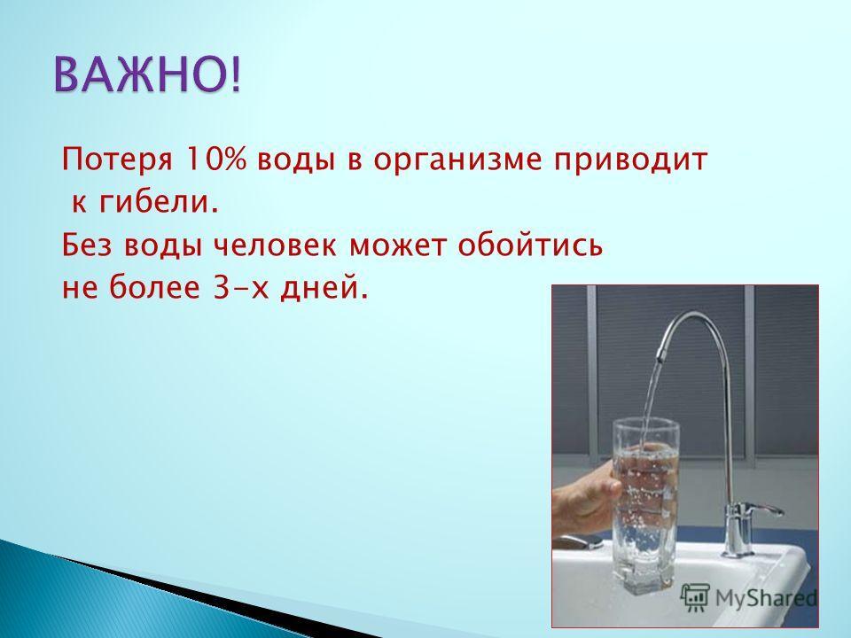 Потеря 10% воды в организме приводит к гибели. Без воды человек может обойтись не более 3-х дней.