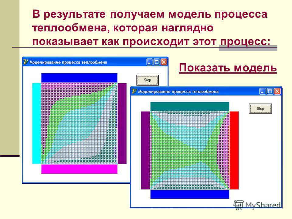 В результате получаем модель процесса теплообмена, которая наглядно показывает как происходит этот процесс: Показать модель