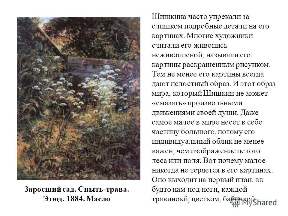Заросший сад. Сныть-трава. Этюд. 1884. Масло Шишкина часто упрекали за слишком подробные детали на его картинах. Многие художники считали его живопись неживописной, называли его картины раскрашенным рисунком. Тем не менее его картины всегда дают цело