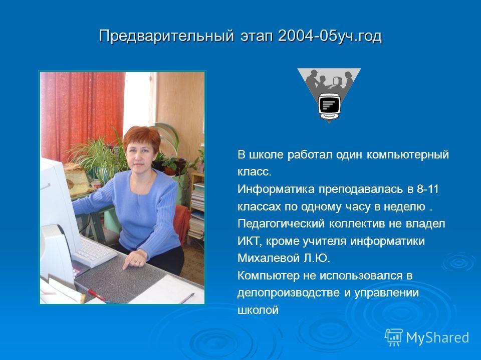 Предварительный этап 2004-05уч.год В школе работал один компьютерный класс. Информатика преподавалась в 8-11 классах по одному часу в неделю. Педагогический коллектив не владел ИКТ, кроме учителя информатики Михалевой Л.Ю. Компьютер не использовался