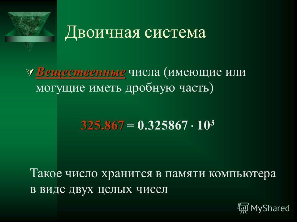 Двоичная система Вещественные Вещественные числа (имеющие или могущие иметь дробную часть) 325.867 325.867 = 0.325867 10 3 Такое число хранится в памяти компьютера в виде двух целых чисел
