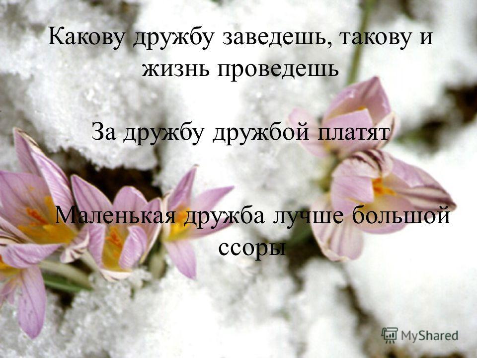 Какову дружбу заведешь, такову и жизнь проведешь За дружбу дружбой платят Маленькая дружба лучше большой ссоры.