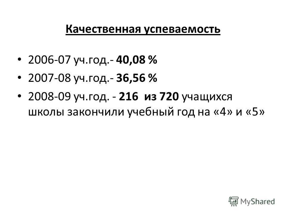 Качественная успеваемость 2006-07 уч.год.- 40,08 % 2007-08 уч.год.- 36,56 % 2008-09 уч.год. - 216 из 720 учащихся школы закончили учебный год на «4» и «5»