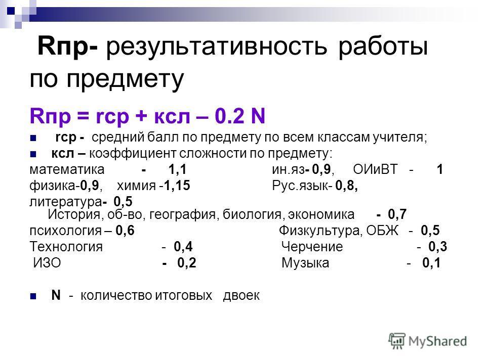 Rпр- результативность работы по предмету Rпр = rср + ксл – 0.2 N rср - средний балл по предмету по всем классам учителя; ксл – коэффициент сложности по предмету: математика - 1,1 ин.яз- 0,9, ОИиВТ - 1 физика-0,9, химия -1,15 Рус.язык- 0,8, литература