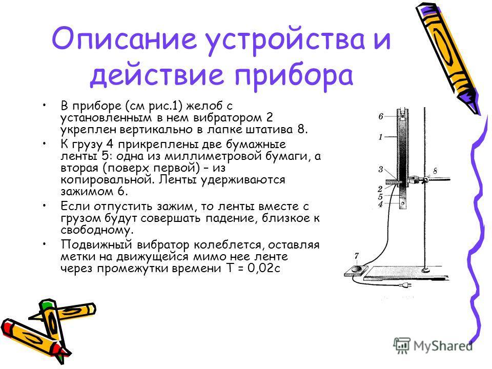Описание устройства и действие прибора В приборе (см рис.1) желоб с установленным в нем вибратором 2 укреплен вертикально в лапке штатива 8. К грузу 4 прикреплены две бумажные ленты 5: одна из миллиметровой бумаги, а вторая (поверх первой) – из копир