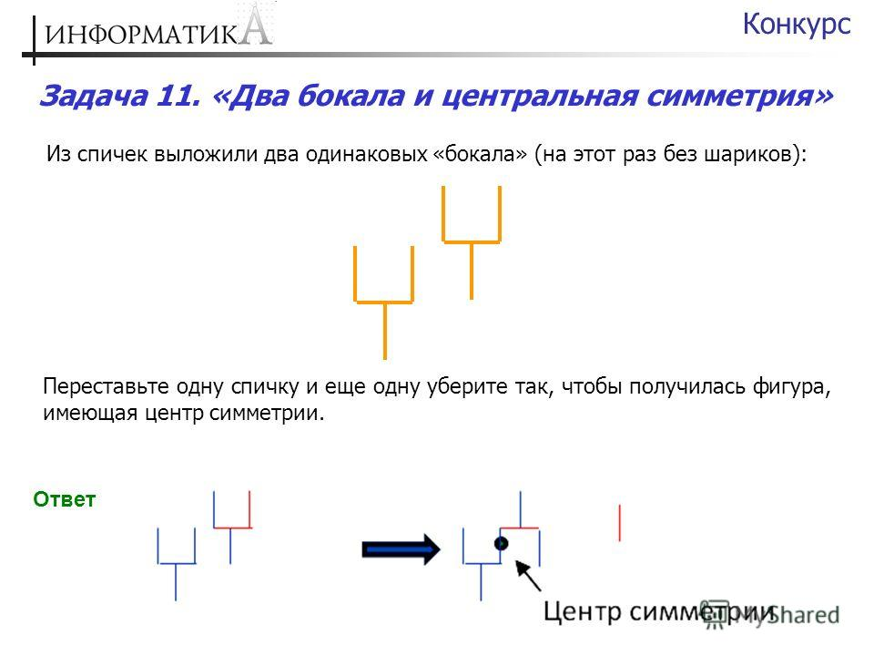 Задача 11. «Два бокала и центральная симметрия» Конкурс Из спичек выложили два одинаковых «бокала» (на этот раз без шариков): Переставьте одну спичку и еще одну уберите так, чтобы получилась фигура, имеющая центр симметрии. Ответ