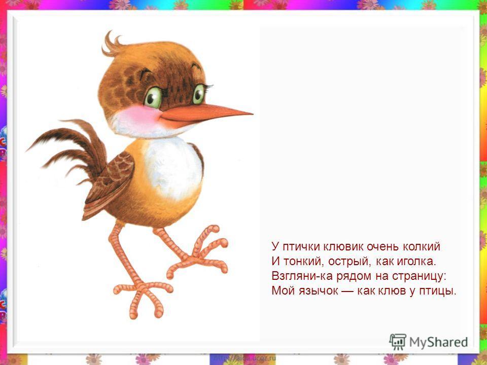 У птички клювик очень колкий И тонкий, острый, как иголка. Взгляни-ка рядом на страницу: Мой язычок как клюв у птицы.