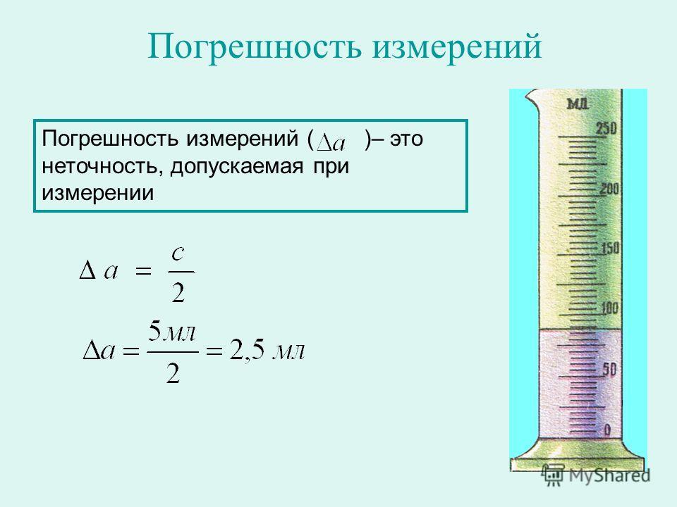 Погрешность измерений Погрешность измерений ( )– это неточность, допускаемая при измерении