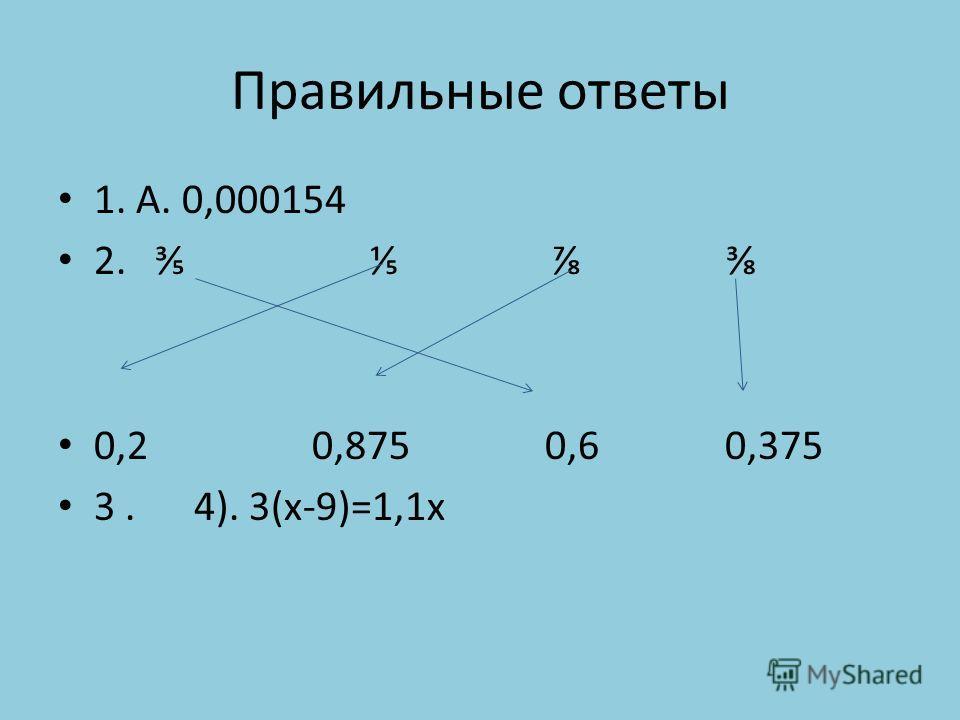 Правильные ответы 1. А. 0,000154 2. 0,2 0,875 0,6 0,375 3. 4). 3(х-9)=1,1х