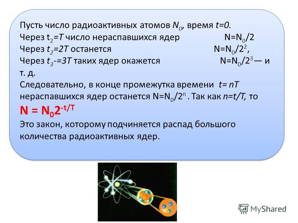 Пусть число радиоактивных атомов N 0, время t=0. Через t 2 =T число нераспавшихся ядер N=N 0 /2 Через t 2 =2T останется N=N 0 /2 2, Через t 3 -=3T таких ядер окажется N=N 0 /2 3 и т. д. Следовательно, в конце промежутка времени t= nT нераспавшихся яд