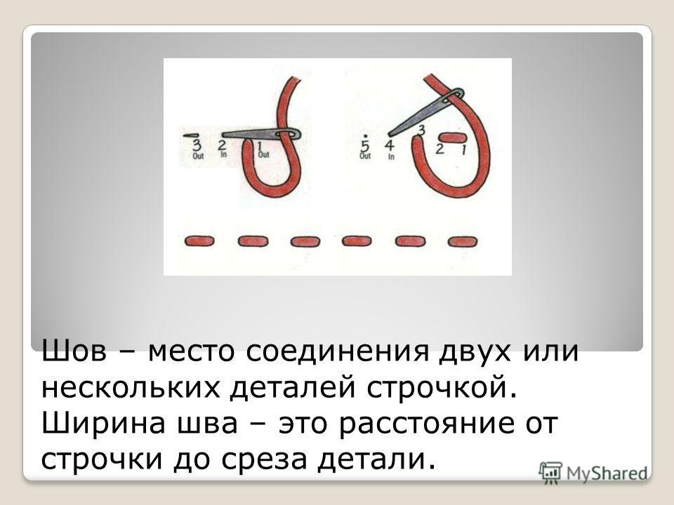Шов – место соединения двух или нескольких деталей строчкой. Ширина шва – это расстояние от строчки до среза детали.