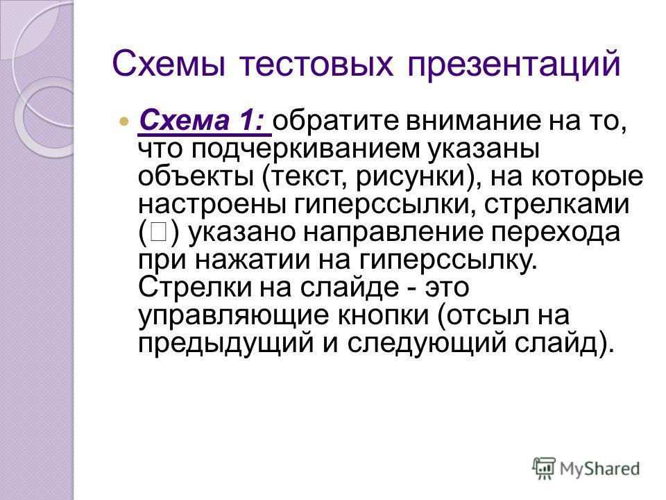 Схемы тестовых презентаций Схема 1: обратите внимание на то, что подчеркиванием указаны объекты (текст, рисунки), на которые настроены гиперссылки, стрелками ( ) указано направление перехода при нажатии на гиперссылку. Стрелки на слайде - это управля