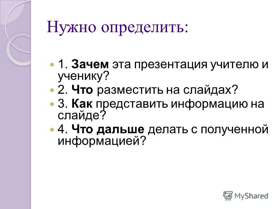 Нужно определить: 1. Зачем эта презентация учителю и ученику? 2. Что разместить на слайдах? 3. Как представить информацию на слайде? 4. Что дальше делать с полученной информацией?